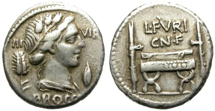 Ancient Coins - ROMAN REPUBLIC. FURIA-23.  SILVER DENARIUS. 63 BC. GOOD GENERAL CONDITION.