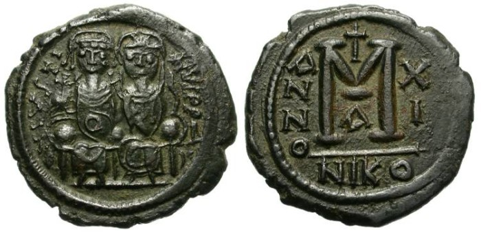 Ancient Coins - BYZANTINE. JUSTIN II WITH SOPHIA. FOLLIS. NICOMEDIA MINT. FANTASTIC OBVERSE. NICE BROWN PATINA.