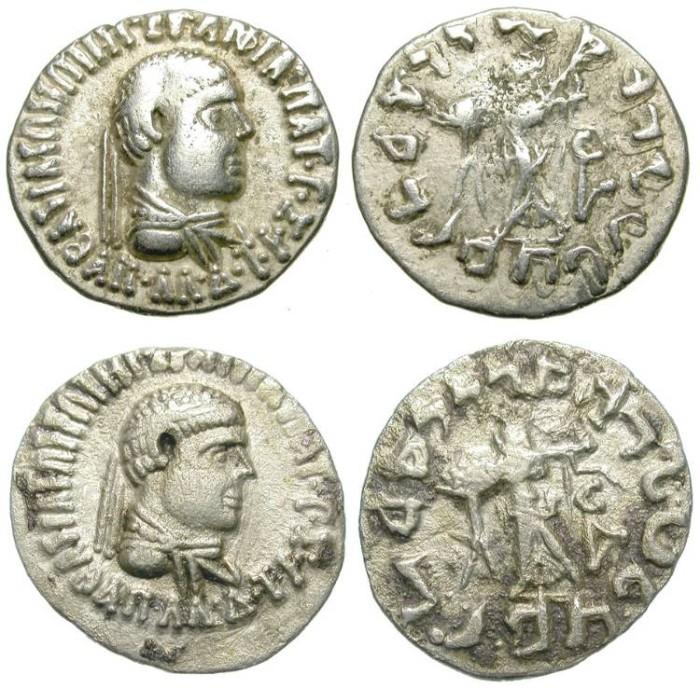 Ancient Coins - LOT OF 2 SILVER DRACHMS. INDO-BAKTRIAN KINGDOM. NICE PIECES
