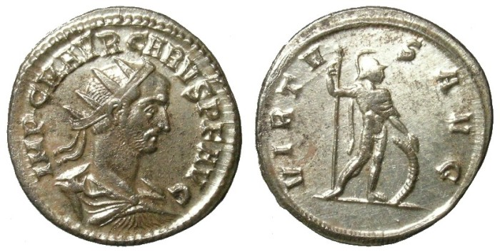 Ancient Coins - CARUS. ANTONINIAN. NICE EF. ATTRACTIVE LUSTER W/ BEAUTIFUL PORTRAIT