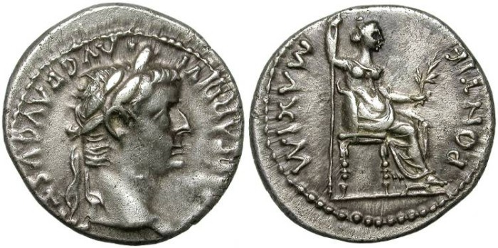 Ancient Coins - TIBERIUS. SILVER DENARIUS. TRIBUTE PENNY. GOOD QUALITY.