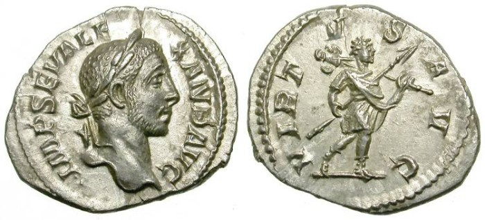 Ancient Coins - SEVERUS ALEXANDER. SILVER DENARIUS. SUCH A GOOD RELIEF IN SPITE OF POOR ROUNDNESS