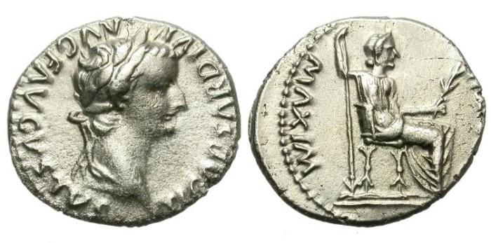 Ancient Coins - TIBERIUS. 14 - 37 AD. SILVER DENARIUS. TRIBUTE PENNY. GOOD RELIEF.
