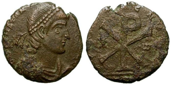 Ancient Coins - VERY RARE CONSTANTIUS II MAIORINA: REVOLT OF POEMENIUS