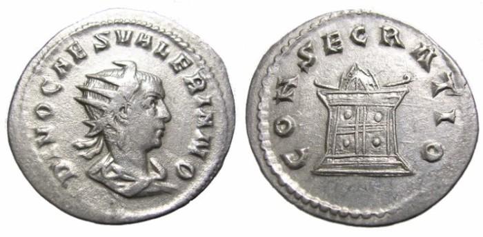 Ancient Coins - VALERIAN  II  ANTONINIANUS.  CONSECRATIO.  VERY  SCARCE.