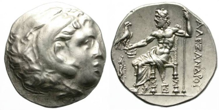 Ancient Coins - ALEXANDER THE GREAT. SILVER TETRADRACHM. SYKION MINT, PELOPONESSOS. NICE CONDITION