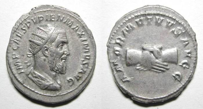 Ancient Coins - PUPIENUS. ANTONINIAN. A EF. NICE PORTRAIT. ATTRACTIVE COIN !