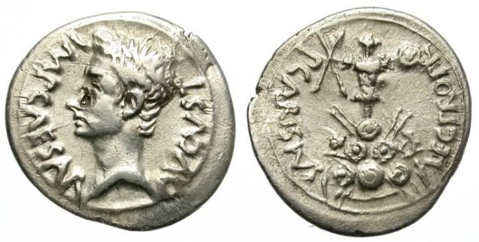 Ancient Coins - AUGUSTUS. SILVER DENARIUS. CARISIUS LEGATE. ATTRACTIVE REVERSE. RARE