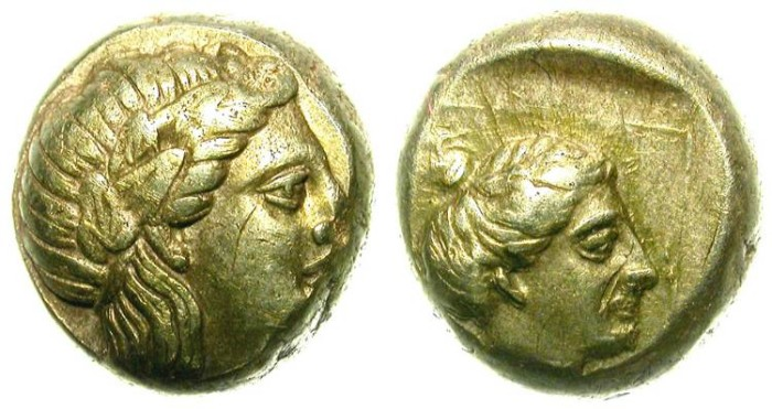 Ancient Coins - MYTILENE, LESBOS. ELECTRUM HEKTE. INTERESTING ISSUE
