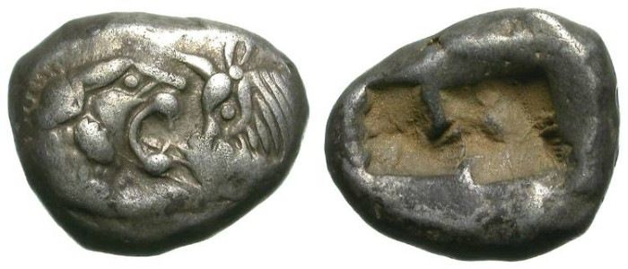 Ancient Coins - KROISOS. LYDIA. SIGLOS. BEAUTIFUL ARCHAIC & EMBLEMATIC COIN !