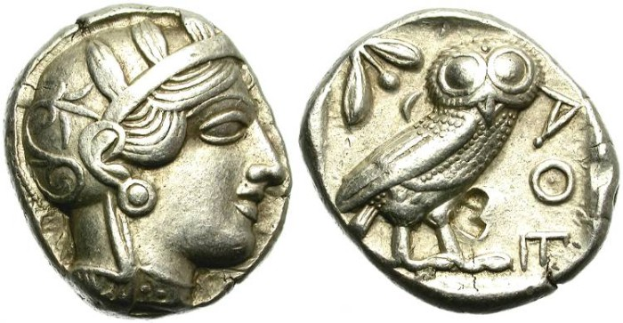 Ancient Coins - ATTICA. ATHENS. SILVER TETRADRACHM. CLASSICAL PERIOD. PARTICULARLY NICE ATHENA DEPICTION