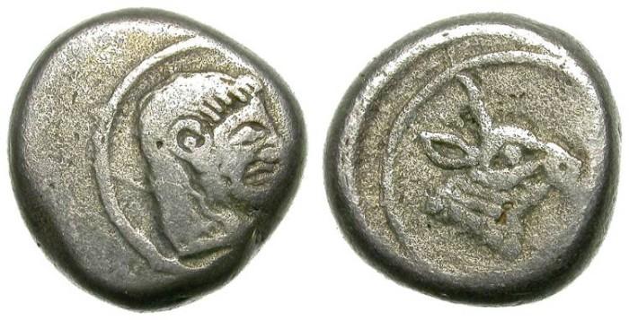 Ancient Coins - KOLCHIS. TETROBOL. INTERESTING EMISSION. VERY SCARCE