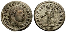 Ancient Coins -  MAXIMINAUS.  FOLLIS. 286-305 AD.  KIZYCUS.  BEAUTIFUL BUST.