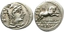 Ancient Coins - ROMAN REPUBLIC. SILVER DENARIUS. THORIA 1. NICE !
