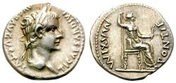 "Ancient Coins - TIBERIUS. AD 14-37. ""TRIBUTE PENNY"" SILVER DENARIUS. FANTASTIC CONDITION. /3"