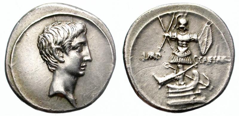 Ancient Coins - AUGUSTUS. SILVER DENARIUS. 30BC-14AD. BEAUTIFUL PORTRAIT. NICE TONING.