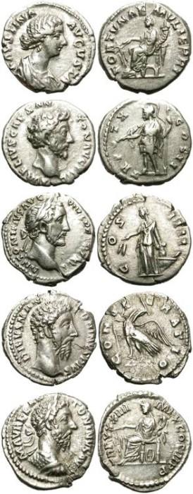 Ancient Coins - LOT OF 5 ROMAN SILVER DENARIUS. ANTONINE PERIOD. GOOD GENERAL CONDITION /2