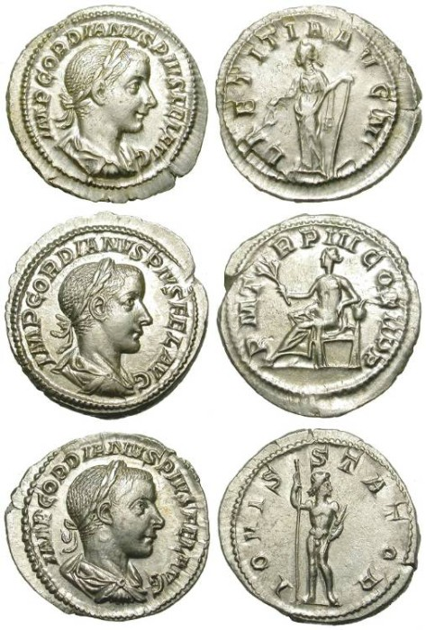Ancient Coins - A NICE GROUP OF 3 GORDIAN III SILVER DENARIUS. EF QUALITY /2!