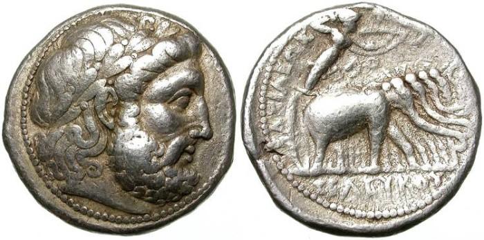 Ancient Coins - SELEUCHOS I NIKATOR. SILVER TETRADRACHM. SELEUKEIA MINT. ELEPHANTS QUADRIGA