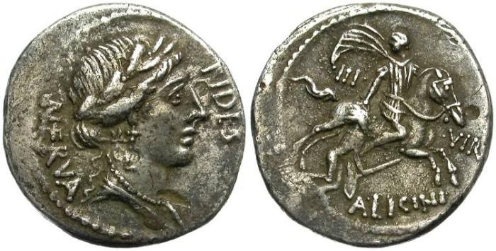 Ancient Coins - ROMAN REPUBLIC. LICINIA 24.  AR DENARIUS. RARE AND NICE TONING.
