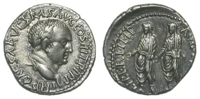 Ancient Coins - VESPASIAN. ORIENTAL DENAR. EPHESUS. aEF. TITUS & DOMITIAN ON REVERSE. RARE & VERY ATTRACTIVE ISSUE !