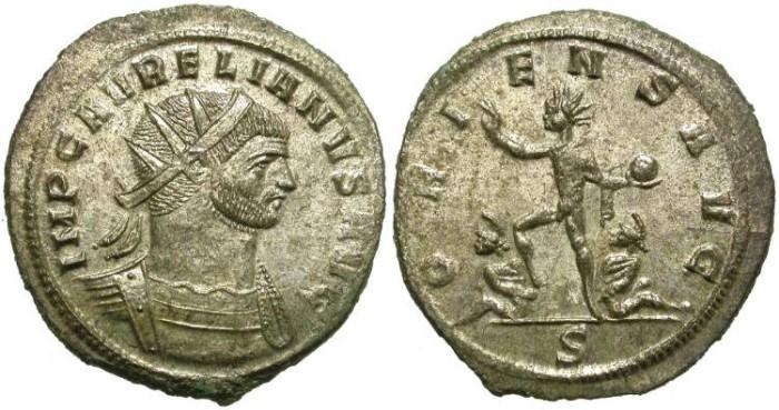 Ancient Coins - AURELIAN. AE ANTONINIANUS. MOST SILVERING REMAINING. BEAUTIFUL COIN