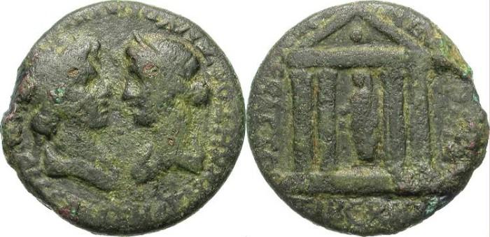 Ancient Coins - TIBERIUS. PROVINCIAL ISSUE. SMYRNA, IONIA. LIVIA w/ GENIUS SENATUS