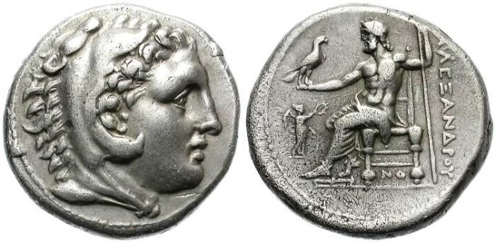 Ancient Coins - ALEXANDER THE GREAT. SILVER TETRADRACHM. CORINTH. NICE PORTRAIT !