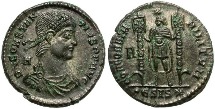 Ancient Coins - CONSTANTIUS  II.  A.D. 350 - 356.  AE  FOLLIS.  SISCIA.  ATTRACTIVE  REVERSE.