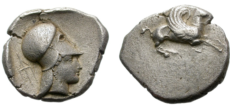 Ancient Coins - CORINTH. EARLY STATER. WOLDERFUL CLASSICAL EYES PORTRAITURE