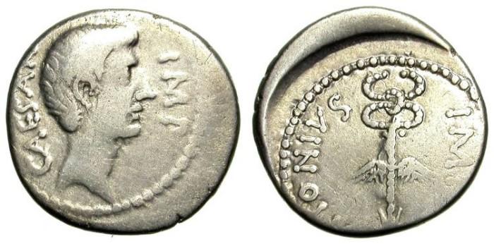 Ancient Coins - OCTAVIAN-MARC ANTHONY. RARE DENAR. OPPORTUNITY