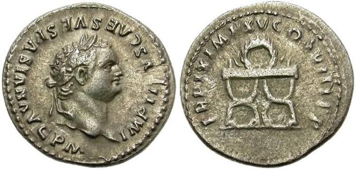 Ancient Coins - TITUS (AD. 78 - 81)  AR  DENARIUS.  BEAUTIFUL  PORTRAIT.
