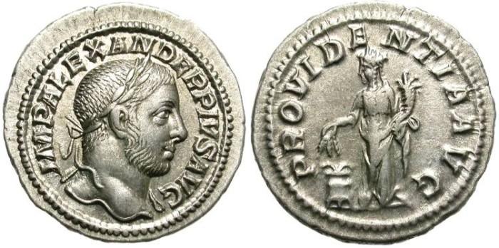 Ancient Coins - SEVERUS  ALEXANDER.  222-235 A.D.  AR DENARIUS.  EXCELLENT PORTRAIT.