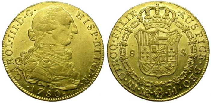 Ancient Coins - COLOMBIA. SANTA FE DE NUEVO REINO (BOGOTA).CHARLES III. 8 ESCUDOS. GOLD. YEAR 1780