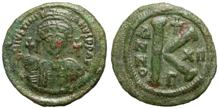 Ancient Coins - IUSTINIAN. HALF FOLLIS. VF. NICE GREEN PATINA. SCARCE DENOMINATION. LARGE MODULE FOR HALF FOLLIS