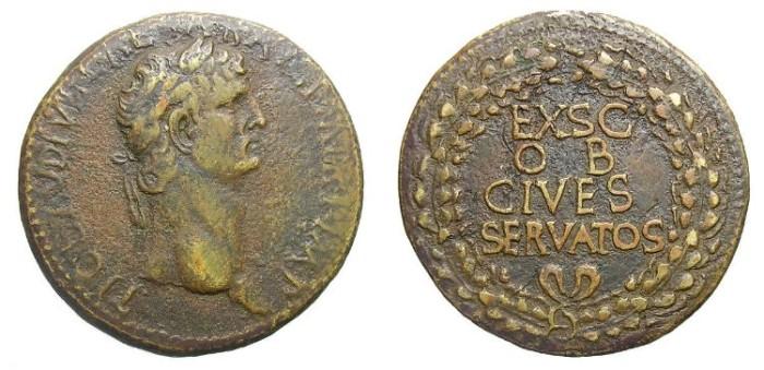 Ancient Coins - CLAUDIUS  SESTERTIUS.  BEAUTIFUL  REVERSE.