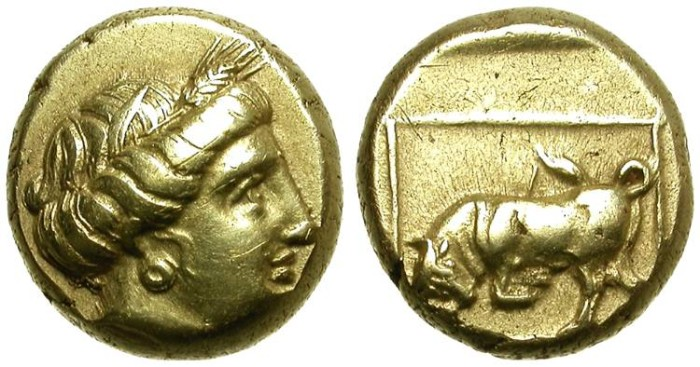 Ancient Coins - MYTILENE.  LESBOS. HEKTE. ELECTRUM. ATTRACTIVE COIN. GOOD QUALITY.