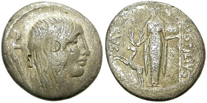 Ancient Coins - ROMAN REPUBLIC. SILVER DENARIUS. HOSTILIA SASERNA. GALLIA ON OBVERSE