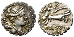 Ancient Coins - ROMAN REPUBLIC. CLAUDIA 5. SILVER DENARIUS.  79 BC. GREAT  BUST. GOOD QUALITY.