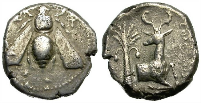 Ancient Coins - EPHESOS. SILVER TETRADRACHM. FROM ONE OF THE MOST EMBLEMATIC ANCIENT CITIES