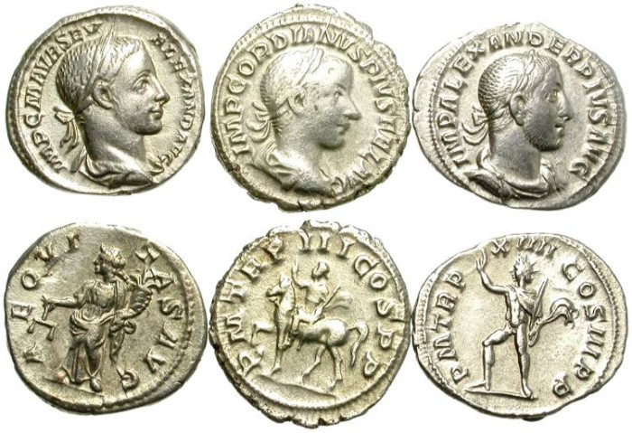 Ancient Coins - LOT OF 3 ROMAN SILVER DENARIUS. FAIR CONDITION AND VERY AFFORDABLE !