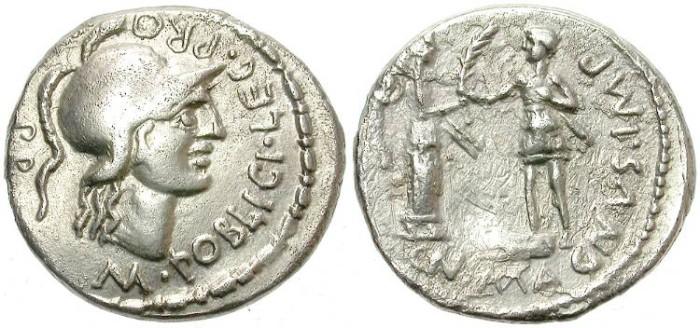 Ancient Coins - POMPEY  THE GREAT. 46-45 B.C.  AR DENARIUS. BEAUTIFUL  PORTRAIT.