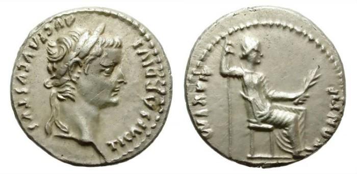 Ancient Coins - TIBERIUS. 14-37 AD. SILVER DENARIUS. Tribute penny. BEAUTIFUL PORTRAIT.