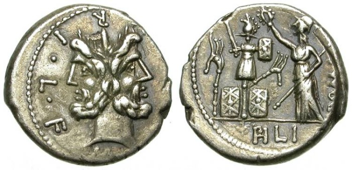Ancient Coins - ROMAN REPUBLIC. SILVER  DENARIUS. FURIA 18. NICE TONING