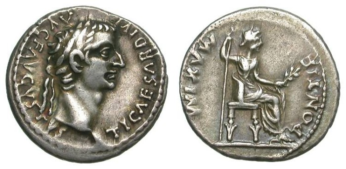 Ancient Coins - TIBERIUS. DENAR. TRIBUTE PENNY. A EF. GREAT COIN WITH A NICE TONING !
