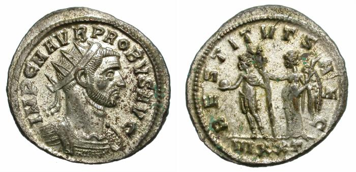 Ancient Coins - PRUBUS. BILLON ANTONINIANUS. TICINUM MINT. MOST ORIGINAL SILVERING REMAINING.