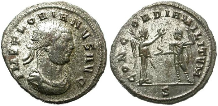 Ancient Coins - FLORIAN. BILLON ANTONINIANUS. SOME SILVERING REMAINING. GOOD PIECE