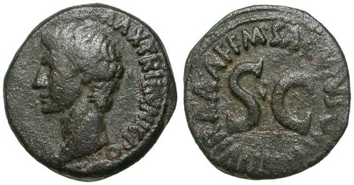 Ancient Coins - AUGUSTUS. AS. SCARCE & INTERESTING ISSUE !
