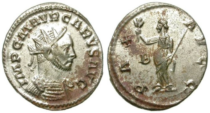 Ancient Coins - CARUS. AE ANTONINIANUS. ALMOST FULL SILVERING WITH REMOVABLE RED SPOTS