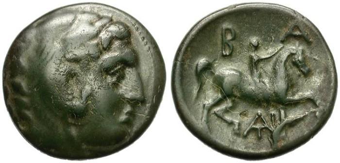 Ancient Coins - ANTIGONOS II GONATAS 277-239 B.C. MACEDONIAN MINT. AE.  INTERESTING COIN. NICE PATINA.